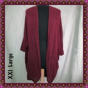 XXI Maroon / Wine Open Front Cardigan Size Large
